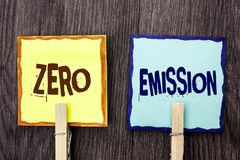 Word writing text Zero Emission. Business concept for Engine Motor Energy Source that emits no waste products written on Sticky No. Word writing text Zero Royalty Free Stock Photography