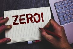 Word writing text Zero Motivational Call. Business concept for The emptiness nothingness of something no value Notepad marker pen. Ideas thoughts laptop keypad Royalty Free Stock Photo