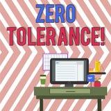 Word writing text Zero Tolerance. Business concept for refusal accept antisocial behaviour typically by strict photo of. Word writing text Zero Tolerance stock illustration