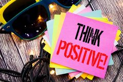 Word, writing Think Positive. Business concept for Positivity Attitude written on sticky note with copy space on old wood wooden b. Word, writing Think Positive royalty free stock photos