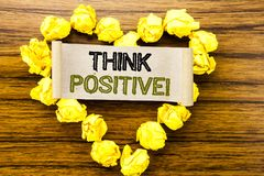 Word, writing Think Positive. Business concept for Positivity Attitude written on sticky note paper on the dark wooden background. Word, writing Think Positive royalty free stock photo