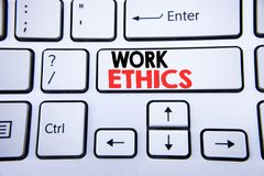 Word, writing Work Ethics. Business concept for Moral Benefit Principles written on white keyboard key with copy space. Top view. Word, writing Work Ethics Stock Image
