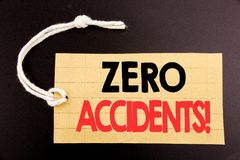Word, writing Zero Accidents. Business concept for online sale Safety At Work Hazard written on price tag paper on the black vinta. Word, writing Zero Accidents Stock Image
