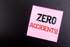 Word, writing Zero Accidents. Business concept for Safety At Work Hazard written on sticky note, black background with copy space. Word, writing Zero Accidents Stock Photo