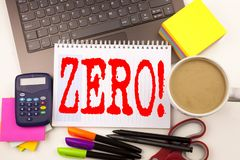 Word writing Zero in the office with  laptop, marker, pen, stationery, coffee. Business concept for Zero Zeros Nought Tolerance Wo. Rkshop white background with Royalty Free Stock Image