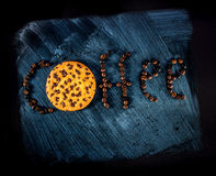 Word written with coffee beans and oatcake Royalty Free Stock Photography