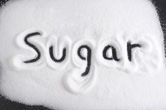 Word written with finger on pile of sugar in diet , sweet overuse and healthy nutrition concept isolated. On white grainy background Royalty Free Stock Images