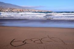 Word Written on the Sand Stock Photos