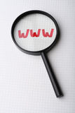 Word WWW - Searching internet concept. WWW - world wide web word on paper under magnifying glass. Searching internet concept Royalty Free Stock Images