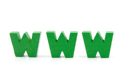 Word WWW in wooden letters. World Wide Web ( WWW ) in green wooden letters isolated on white background Royalty Free Stock Images