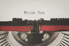 """Word """"thank you"""" written on a vintage typewriter Stock Images"""