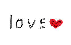 Word ''Love'' with abstract heart on white background Royalty Free Stock Image