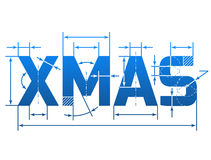 Word XMAS with dimension lines Royalty Free Stock Photos