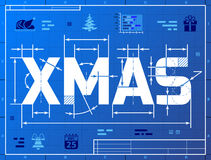 Word XMAS like blueprint drawing. Stylized drafting of Christmas on blueprint paper. Qualitative vector (EPS-10) illustration for christmas, new year's day Royalty Free Stock Images