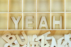 Word yeah made with block wooden letters Stock Photos