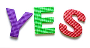 Word YES. Isolated on the white background royalty free stock photography