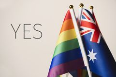Word yes and australian and rainbow flags stock photography