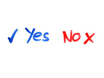 Word yes no written on whiteboard Royalty Free Stock Photo