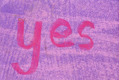 Word Yes in Pastel Chalk Royalty Free Stock Photo