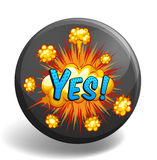 Word yes on round badge Stock Image