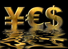 Word YES written by gold symbols of yen, dollar and euro Royalty Free Stock Photography