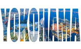 Word YOKOHAMA over luchtnachtmening van Yokohama-Cityscape royalty-vrije stock foto's