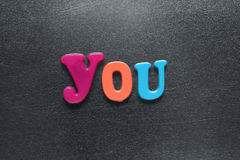 Word you spelled out using colored fridge magnets Royalty Free Stock Photos