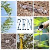 Word zen, bamboo and stones collage. Word zen, bamboo and stones square collage royalty free stock images