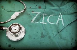 Word zica identical with target on uniform of doctor spotted with blood along with phonendoscope. Conceptual image royalty free stock images