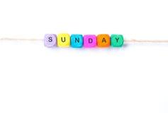 Word zondag op een witte achtergrond Royalty-vrije Stock Foto