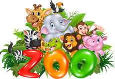 Word zoo with cartoon wild animal Royalty Free Stock Photo