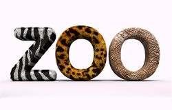 Word zoo with fur letters. Royalty Free Stock Images