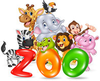 Word zoo with happy cartoon wild animal africa Royalty Free Stock Images