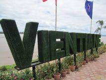 Wordart de bonsaïs de nom de ville de Vientiane Images libres de droits