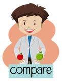 Wordcard для сравнивает при мальчик держа яблока Стоковое фото RF