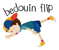 Wordcard for bedouin flip with boy flipping. Illustration Royalty Free Stock Photos