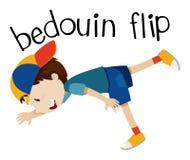 Wordcard for bedouin flip with boy flipping. Illustration stock illustration
