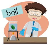 Wordcard for boil with boy doing science lab Royalty Free Stock Photos