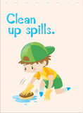 Wordcard with boy cleaning up spills Royalty Free Stock Image