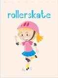 Wordcard con el rollerskate del niño Fotos de archivo libres de regalías