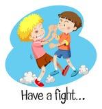 Wordcard dla walkę z dwa chłopiec walczyć Obraz Royalty Free
