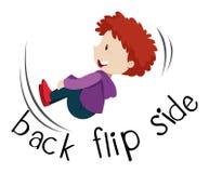 Wordcard för sida för tillbaka flip med pojkebläddring vektor illustrationer
