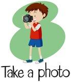 Wordcard för tar ett foto med pojken som tar fotoet med kameran vektor illustrationer