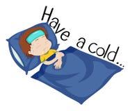 Wordcard für haben eine Kälte mit dem Jungen, der im Bett krank ist vektor abbildung