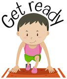 Wordcard for get ready with boy at the start of the race. Illustration royalty free illustration