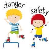 Wordcard oposto para o perigo e a segurança ilustração stock