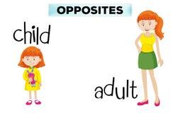 Wordcard opposé avec l'enfant et l'adulte illustration stock