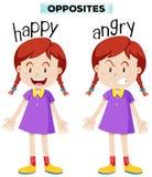 Wordcard opposto per felice ed arrabbiato royalty illustrazione gratis
