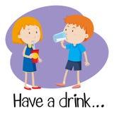Wordcard para tiene una bebida ilustración del vector