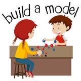 Wordcard per configurazione un modello con un gioco di due bambini illustrazione vettoriale